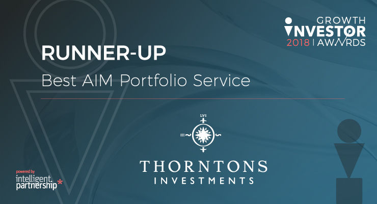 Thorntons Investments named 'Best AIM Portfolio Service' runner-up at the Growth Investors 2018 Awards