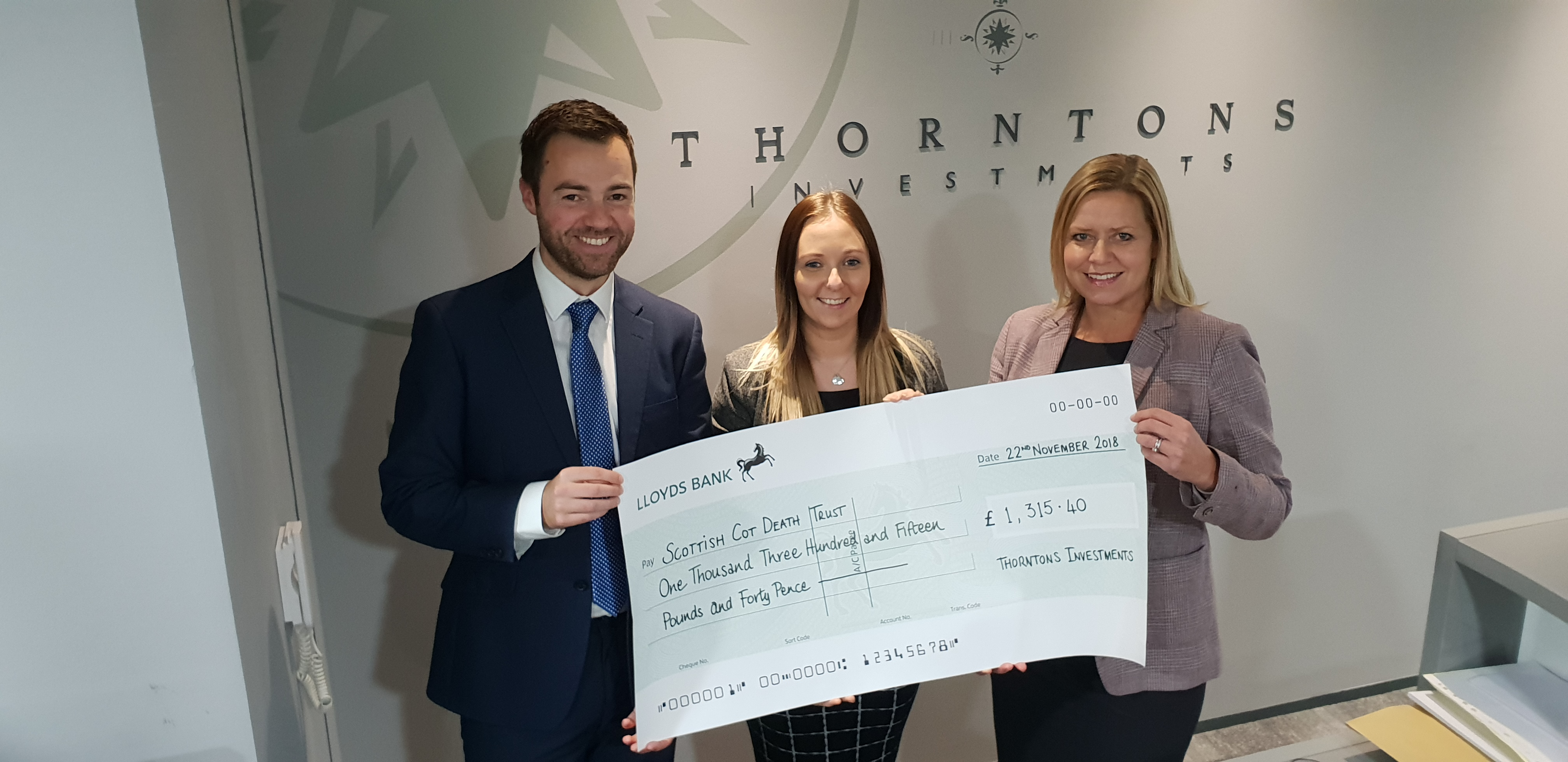 Thorntons Investments staff raise vital funds for Cot Death Trust